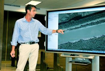 St. Mary Parish Levee District Operations Manager Michael Brocato Jr. uses Google Maps to show where deterioration has occurred on the Wax Lake East levee in Patterson