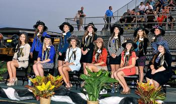 Berwick High School held its homecoming contest Friday against KIPP Renaissance, which the Panthers won 7-0. During halftime, the 2013 homecoming queen, Sara Swisher, was crowned. Above is the full court. On the back row, from left, are Brooke Hotard, Emily Lipari, Signe Parsiola, Sara Rentrop, Swisher and Anna Washburn. On the front row, from left, are Erin Brown, Sarah Carpenter, Olivia Gilbert, Madeline Gray, Diana Grace Guarisco and Bailey Guidroz.